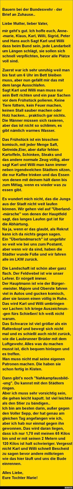 Bauern bei der Bundeswehr - der Brief an Zuhause.. | Lustige Bilder, Sprüche, Witze, echt lustig