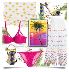 """""""Tropical"""" by interesting-times ❤ liked on Polyvore featuring Dolce&Gabbana, Sara Battaglia, Caroline Constas, L'Agent By Agent Provocateur and prettyunderpinnings"""