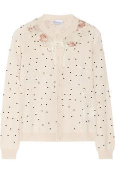 RED Valentino Woll-Cardigan mit Polka-Dots | NET-A-PORTER