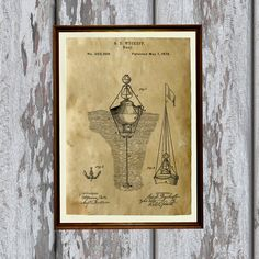 Nautical print. Buoy poster printed on aged paper. Handmade vintage art - antique home decor. SIZE: 8.3 x 11.7 (A4)  Paper for each print is