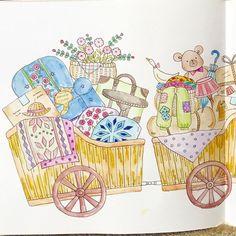 見開き塗ってみました〜❤️ (左ページ) #コロリアージュ#coloriage#coloringbook#adultcoloringbook#大人の塗り絵#ロマンティックカントリー#romanticcountry#油性色鉛筆#水彩色鉛筆