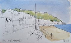 Love the seaside! Here's an initial sketch study #watercolour #sketch #scarborough