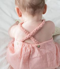Crochet, cross-back peachy romper. Simple, sweet perfection!  #estella #kids #fashion