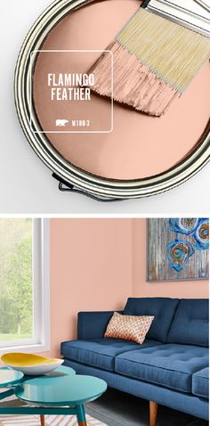 There's no wrong way to use the light blush tones of BEHR's Color of the Month: Flamingo Feather. If you're looking to make a bold statement in the interior design of your home, try contrasting this warm pink hue against deep navy and bright turquoise col Modern Paint Colors, Interior Paint Colors, Paint Colors For Home, House Colors, Turquoise Paint Colors, Peach Paint Colors, Vintage Paint Colors, Interior Design Minimalist, Home Interior Design