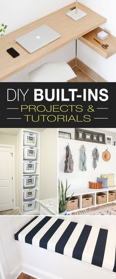 DIY Built Ins • Ideas, Projects & Tutorials! • Built-in benches, shelves, storage. • Lots of great projects and tutorials! #DIYbuiltins #DIY #builtins #DIYbuiltinprojects #DIYbuiltinstorage #builtinstorage