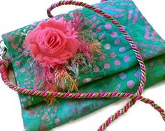 Quilted Batik in  Pink and Green with Shabby by tonilovesbuttons, $48.65