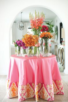 pink + orange ikat linens | Cameron & Kelly Studio #wedding