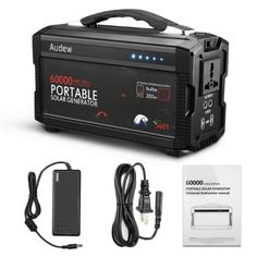 Audew Portable Solar Generator 60000 mAh - DC - For Car/wall/solar.This item includes the wall supply but solar panels are sold separately.Item is also NOT CHARGED and will need to be charged after purchase. Battery Generator, Portable Generator, Solar Energy Panels, Best Solar Panels, Power Energy, Ac Power, Wind Power, Solar Power System, Solar Charger