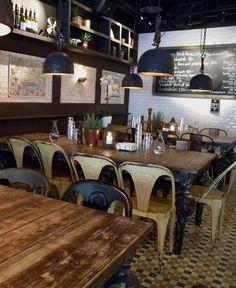 walls-white tiles and wood, very interesting floor Köttbaren, Stockholm Sweden Bistro Restaurant, Cafe Bistro, Bistro Chairs, Restaurant Design, Bar Interior, Interior And Exterior, Deco Cafe, Mein Café, Cafe Concept