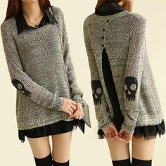 Popular Mujeres Cráneo de La Gasa de la Camisa de Punto Vestido de Dos Piezas de Manga Larga Prendas de Punto Flojo Jumper Sweater Pullover High Street Outwear
