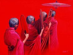 Novices in Red by Aung Kyaw Htet, Oil on canvas , 86 x 113 cm Buddha Painting, Buddha Art, People With Red Hair, Buddhist Monk, Indian Artist, World Photography, Classical Art, Human Condition, Indian Paintings