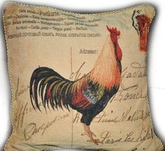 """2 PC 18"""" Home Decor Vintage French Rooster Mail Love Throw Pillow Cushion Cover #TacheHomeFashion #AnimalPrint"""