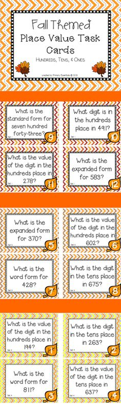 Place Value Overview Task Cards Expanded Form