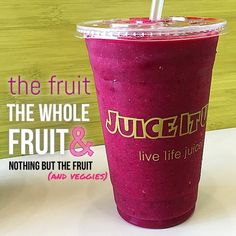 We are proud to say our Fruit & Veggie Fusions are made of real whole fruit and veggies with all the fiber. NO purées. NO added sugars. Absolutely NO fillers! Just 100% healthy raw ingredients blended fresh just for you from Juice It Up! raw veggie smoothie made with beets pineapple apple strawberries cucumber and banana. drink your veggies. nourish. vegan. live life juiced.