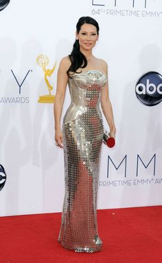 Lucy Liu, Versace Dress, Picture : AP Photo/Matt Sayles