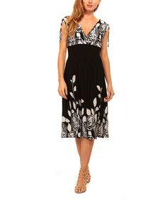 Black & White Floral Smocked-Waist Surplice Dress