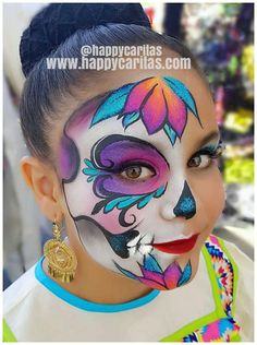 Beautiful bright sugar skull face paint design, ca Face Painting Halloween Kids, Girl Face Painting, Face Painting Designs, Body Painting, Face Paintings, Halloween Face Paint Designs, Sugar Skull Face Paint, Sugar Skull Makeup, Maquillage Sugar Skull
