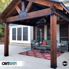 A Backyard Pavilion with a Fireplace Serves As a Multi-Purpose Outdoor Living Space - OZCO Building Products Backyard Pavilion, Backyard Patio Designs, Backyard Pergola, Pergola Designs, Backyard Projects, Pergola Plans, Backyard Landscaping, Gazebo, Outdoor Pavilion