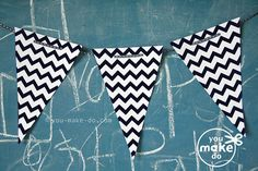 INSTANT DOWNLOAD black chevron banner printables - birthday banner, baby shower banner, party printables, banners, chevron party, diy party