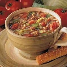 Country Cabbage Soup Recipe:: I (Kristi) did this but with two small cans of diced tomatoes with green chilies instead of 2 large cans of diced tomatoes and 1 white onion. I also added mushrooms.