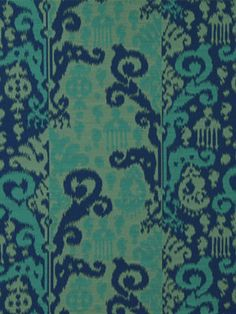 Turquoise Ikat Fabric by the Yard  Silk Fabric by PopDecorFabrics, $125.00