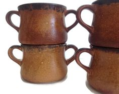 Vintage McCoy pottery bowls in the Canyon pattern Earthtone soup crocks or open…