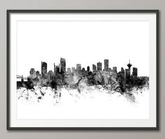 Vancouver, British Columbia, Canada City Skyline, art print    Frame/Matte is not included.  Available sizes are shown in the SELECT A SIZE drop down