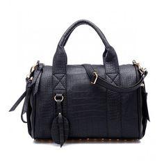 Croc Print Bowling Bag ($50) ❤ liked on Polyvore featuring bags, handbags, pu handbag, croco embossed handbags, bowler bags, zipper purse and zipper bag