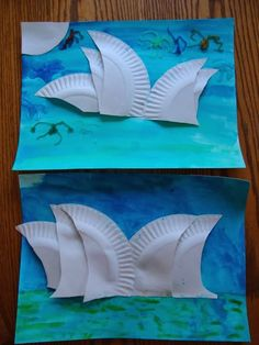 Australia craft-- Making the Sydney Opera House (with instructions) (geography, homeschool, preschool) Arts And Crafts For Teens, Arts And Crafts House, Art For Kids, Crafts For Kids, Craft House, Australia For Kids, Australia Crafts, Coast Australia, Australian Animals