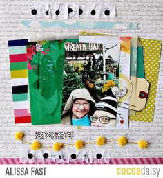 So Lucky, by Alissa Fast using the Flutterby collection from www.cocoadaisy.com #cocoadaisy #kitclub #scrapbooking #layout #DITL #planner #hidden #journaling #recycle #tissue #pompoms #washi #ruffle #diecuts