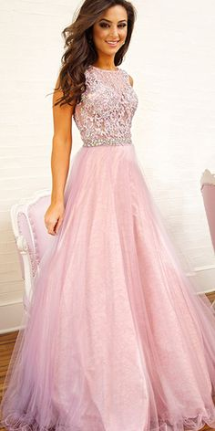 Pastel pink sequined prom gown.