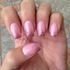 Pink French nail art with glitter :: one1lady.com :: #nail #nails #nailart #manicure