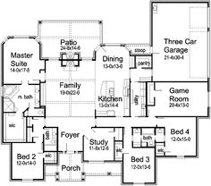 Floor Plan. Love bed 3  4 sharing bathroom, make bedroom 3 an in-law suite, flip dining and kitchen.