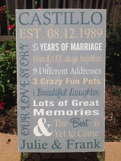 35 Wedding Anniversary Gift Ideas For Parents : Wedding Anniversary on Pinterest Wedding Anniversary, Anniversary ...