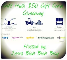 Enter to #Win a $50 Gift Card of your choice from Gift Hulk! If you win the #giveaway you can choose any gift card from the website... Aweosme, swing by and enter.