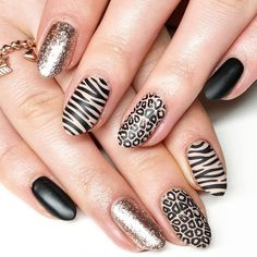 Animal print nail designs for beginners and professionals, step-by-step tutorials, leopard nail designs, zebra stripes, tiger style. How to make animal print na Leopard Nail Designs, Animal Nail Designs, Animal Nail Art, Nail Art Designs, Cute Nails, Pretty Nails, My Nails, Fall Nails, Leopard Nail Art