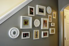 I like how small ceiling medallions are here and there, in this gallery picture arrangement.