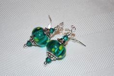 teal pandora style polka dots earrings