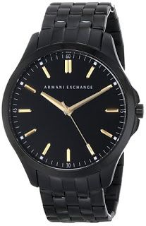Armani Exchange Watch: Armani Exchange Men's AX2144 Black Stainless Steel Watch Black watch featuring round dial with gold-tone markers, three-hand movement, and logo under 12 o'clock position 45 mm black stainless steel case with mineral dial window Quartz movement with analog display Stainless steel link bracelet with fold-over clasp and safety closure Water resistant to 50 m (165 ft): In general, suitable for short periods of recreational swimming, but not diving or snorkeling Cost : $…