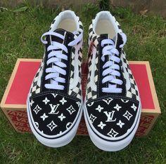 88d7129c8a5bc Custom Vans Old Skool Check Black   White Louis Vuitton Size 9 Mens Size  10.5 Womens Skate Designer