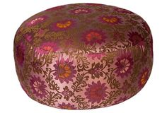 Silk Brocade Pouf, Purple Lotus on OneKingsLane.com