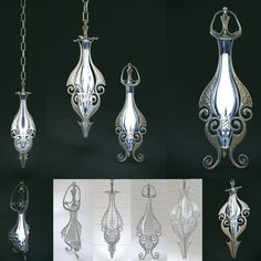 Set of two elven lamps hanging and portable by HorheSoloma.deviantart.com on @deviantART