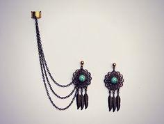 dream catcher ear cuff earrings, ear cuff with chains, tribal ear cuff, feather ear cuff, turquoise earrings