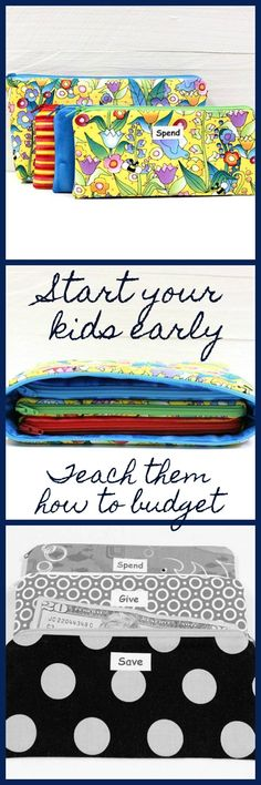FULL SIZE Kids Cash Envelope System - Give Save Spend - Cash Budget System - 3 Zippered Cash Budget Envelopes and Case - Ready to Ship #ad