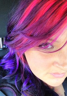 New hair! Purple, pink and blue.