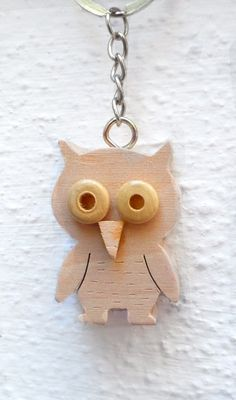 Wood Owl Key Ring Wooden Owl Keychain by ForGoodPeople on Etsy, $15.00
