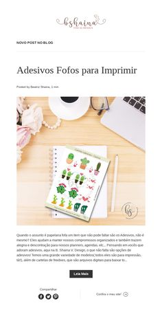 Novo POST no BLOG Blog, Cute Stationery, Stickers, Day Planners, Blogging