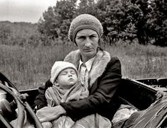 """""""October 1935. """"Poverty on the march."""" Wife and child of destitute Ozark family in Arkansas. 35mm nitrate negative by Ben Shahn."""""""