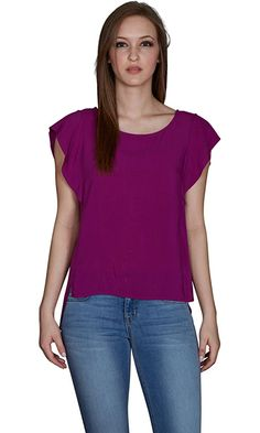 Velvet by Graham and Spencer Cyndee Rayon Challis High/Low Top, Balsamic, S