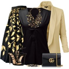 Black & Gold outfit by kamkami on Polyvore featuring LE3NO, Dsquared2, Gucci and Ashley Pittman